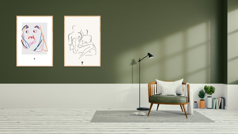 Minimalist  interior design,green living room , 3d render